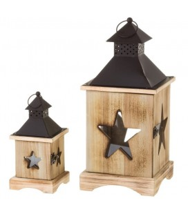 SET 2 FAROLES MADERA Y METAL STAR